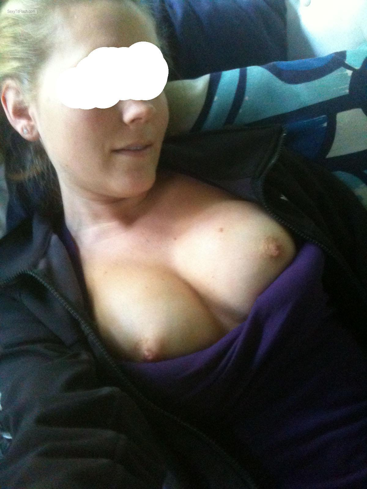 Tit Flash: Girlfriend's Tanlined Medium Tits (Selfie) - Whatever from United States